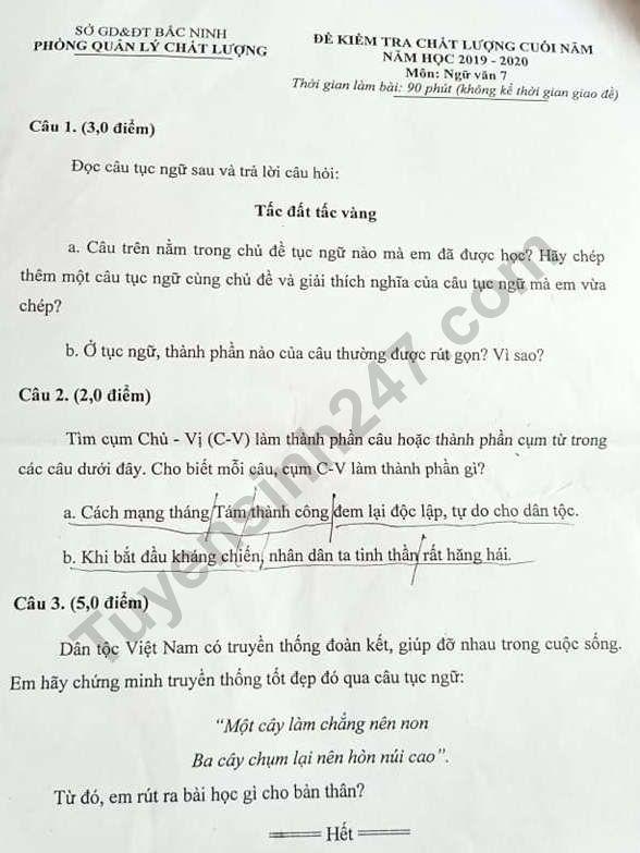 De thi ki 2 mon Van lop 7 nam 2020 - Bac Ninh
