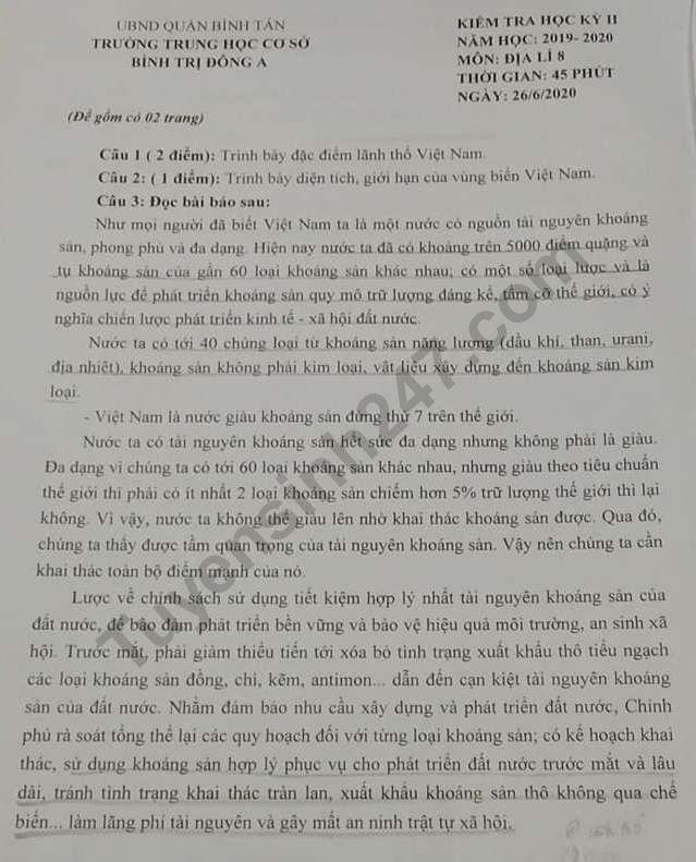 De thi ki 2 mon Dia lop 8 - THCS Binh Tri Dong A 2020