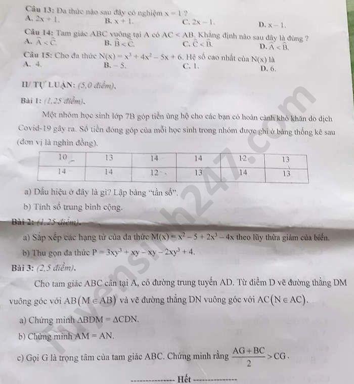 De thi hoc ki 2 So Quang Nam mon Toan lop 7 nam 2020