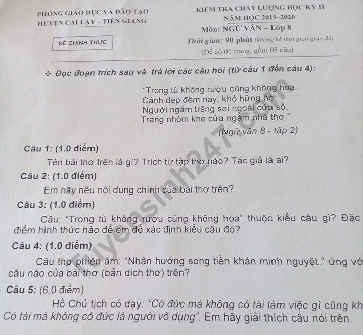 De thi ki 2 mon Van lop 8 - Phong GD Cai Lay 2020