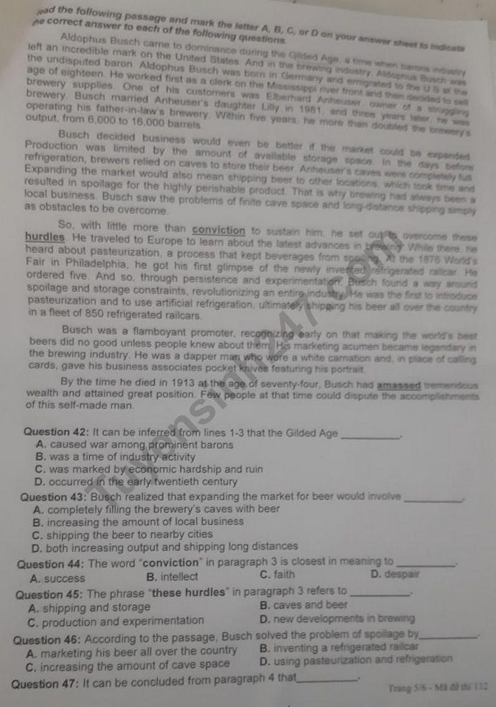 De thi thu tot nghiep THPT mon Anh 2020 - Chuyen DH Vinh lan 1