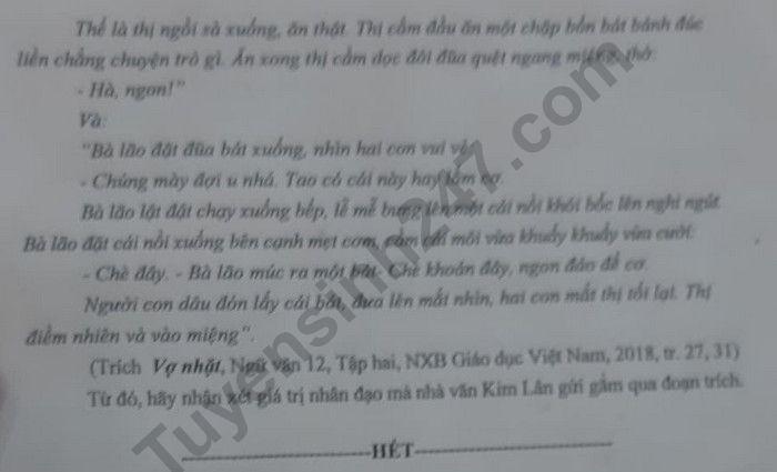 De thi thu tot nghiep THPT nam 2020 mon Van Chuyen DH Vinh lan 1