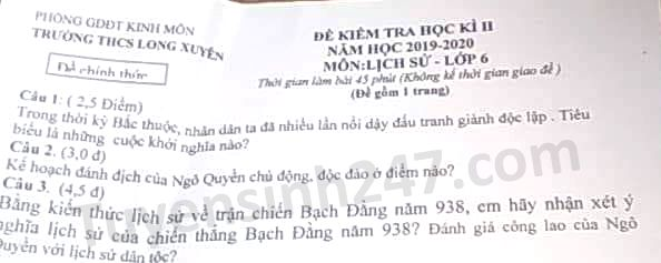 De thi hoc ki 2 mon Su lop 6 nam 2020 THCS Long Xuyen
