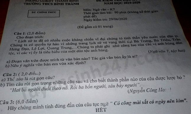 De thi hoc ki 2 mon Van lop 7 THCS Binh Thanh nam 2020