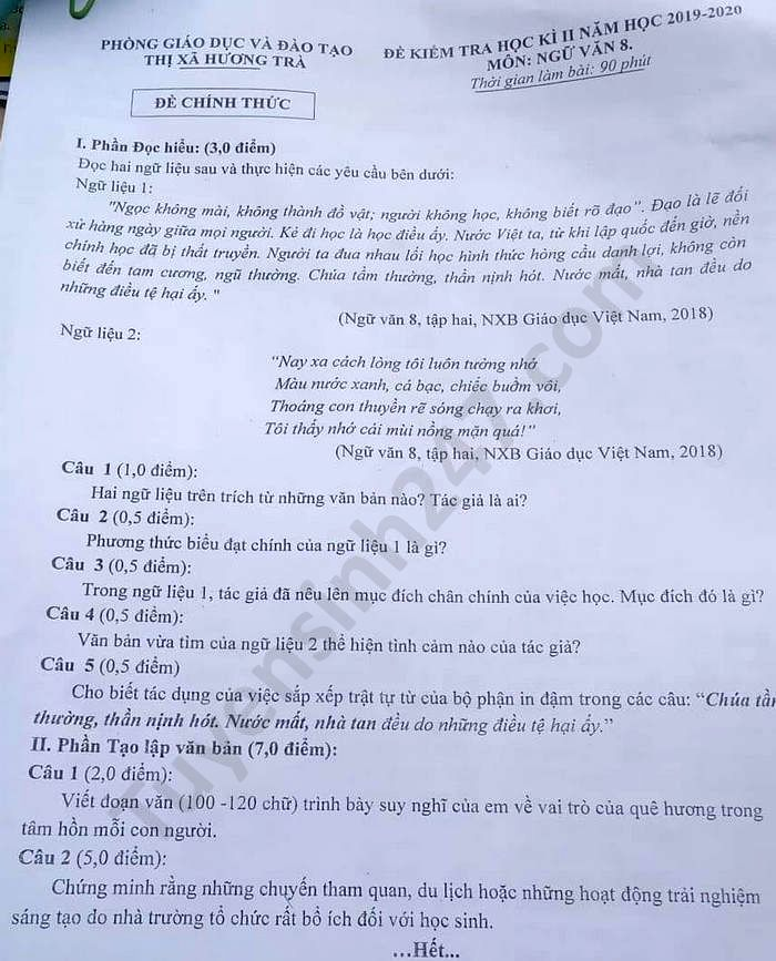 De thi hoc ki 2 mon Van lop 8 Phong GD Huong Tra 2020