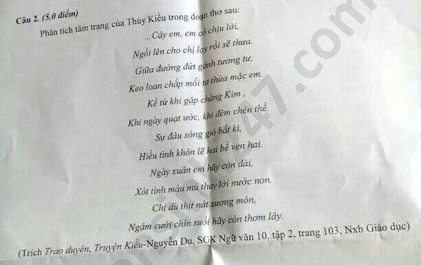De thi hoc ki 2 mon Van lop 10 THPT Duy Tan nam 2020