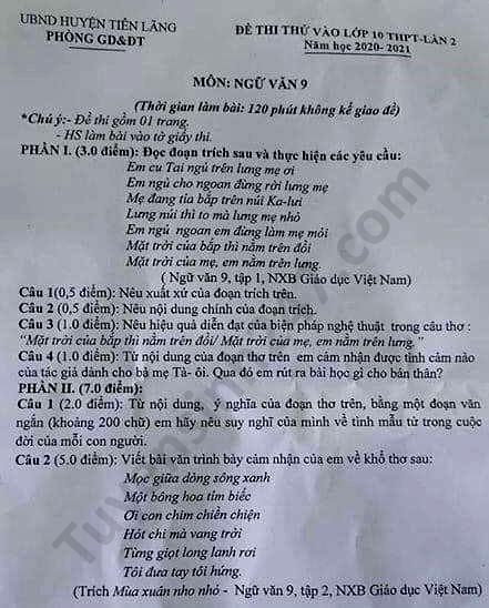 De thi thu vao 10 huyen Tien Lang mon Van nam 2020 lan 2