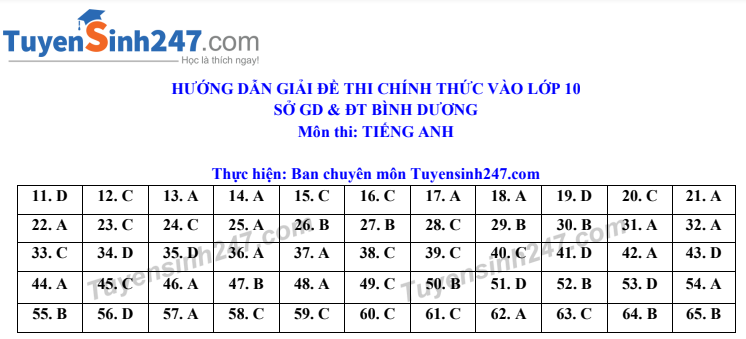 Dap an de thi vao lop 10 mon Anh tinh Binh Duong 2020