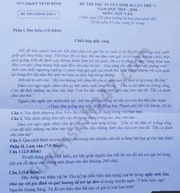 De thi thu vao lop 10 mon Van tinh Ninh Binh lan 1 nam 2020