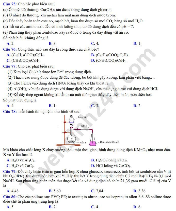 De thi thu THPTQG mon Hoa THPT Quang Ha nam 2020 lan 3