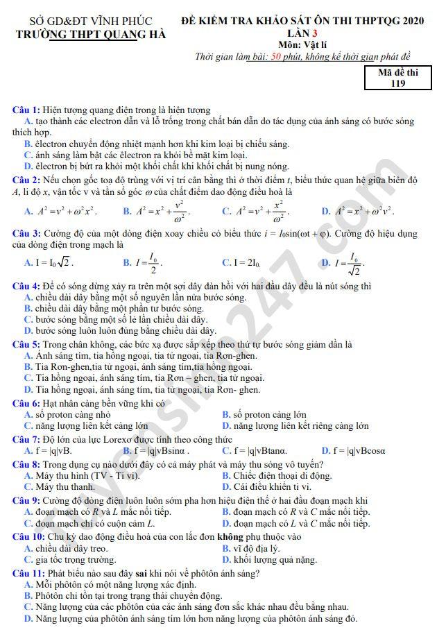 De thi thu THPTQG nam 2020 mon Ly THPT Quang Ha lan 3