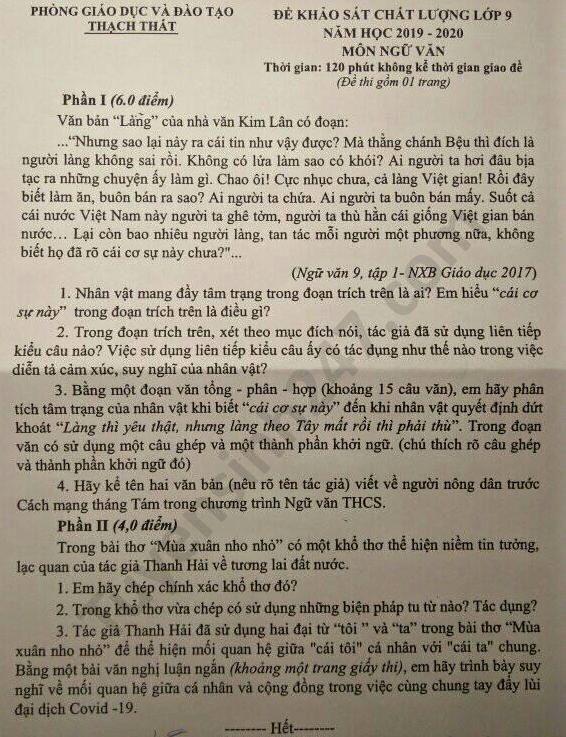 De thi thu vao lop 10 nam 2020 mon Van Phong GD Thach That