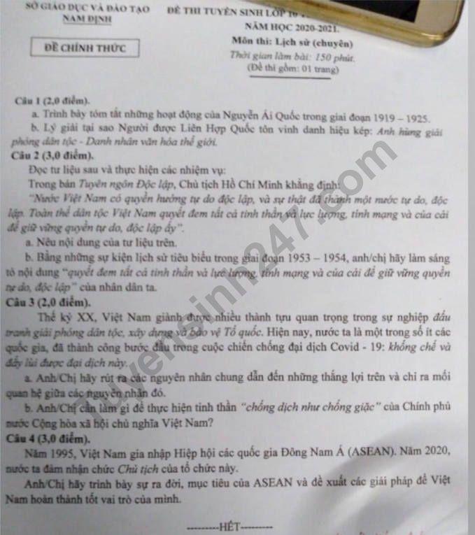 De thi vao lop 10 mon Su Chuyen 2020 - THPT Chuyen Le Hong Phong