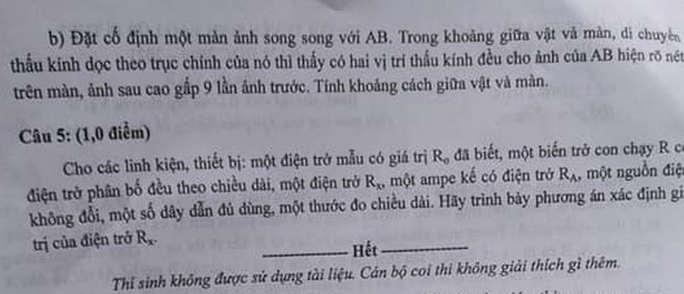 De thi mon Ly chuyen vao lop 10 - Hung Yen 2020