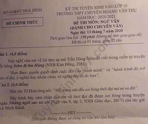 De thi vao lop 10 mon Van THPT chuyen Hoang Van Thu 2020