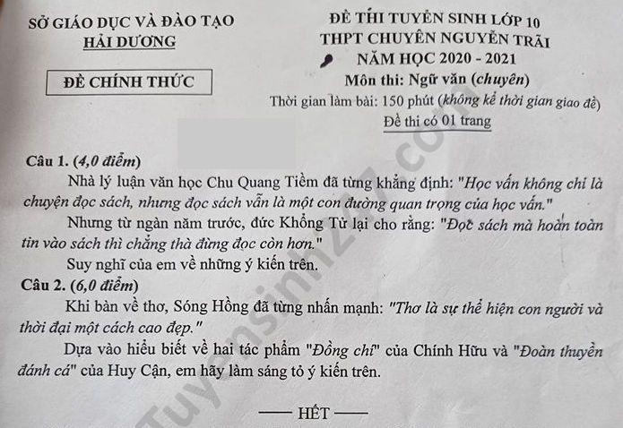 De thi vao lop 10 mon Van THPT chuyen Nguyen Trai nam 2020