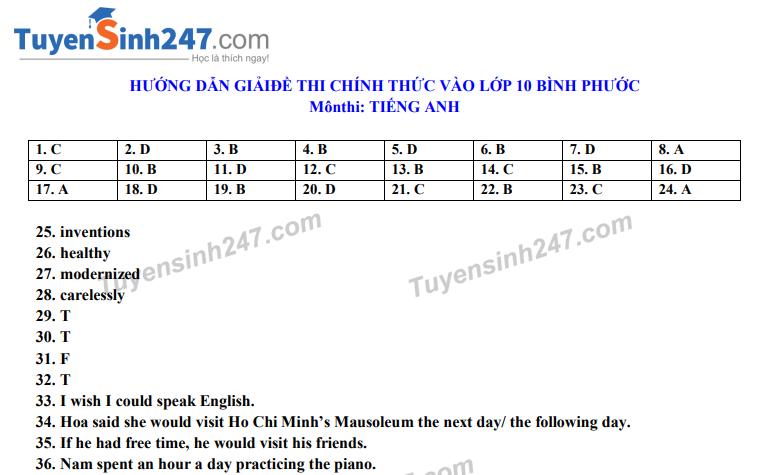 Dap an de thi vao lop 10 tinh Binh Phuoc mon Anh nam 2020