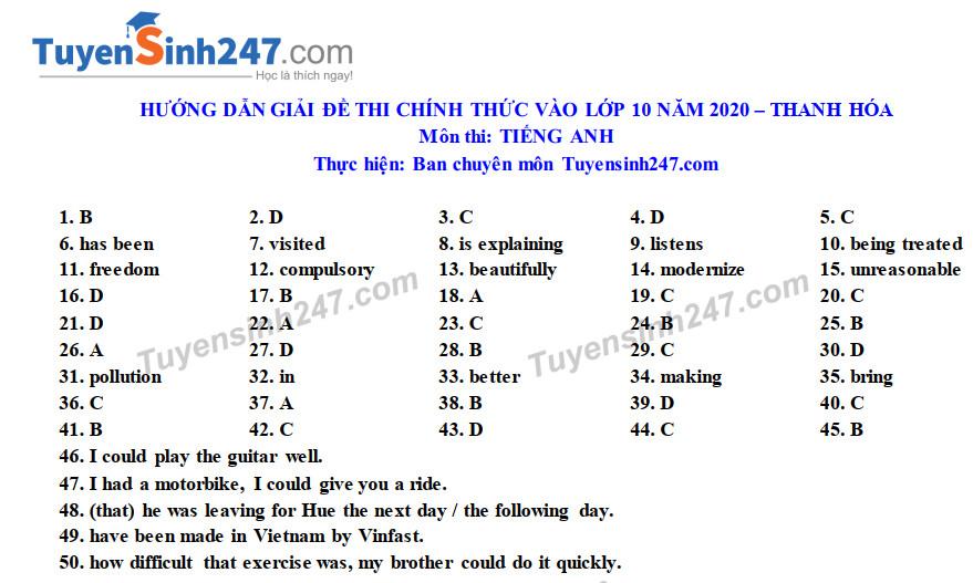 Dap an de thi vao lop 10 mon Anh tinh Thanh Hoa nam 2020