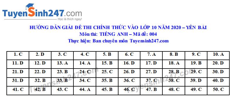 Dap an de thi vao lop 10 tinh Yen Bai mon Anh nam 2020