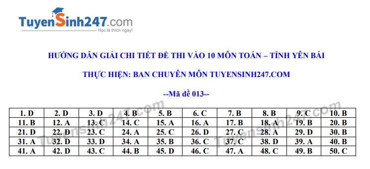 Dap an de thi vao lop 10 tinh Yen Bai mon Toan nam 2020