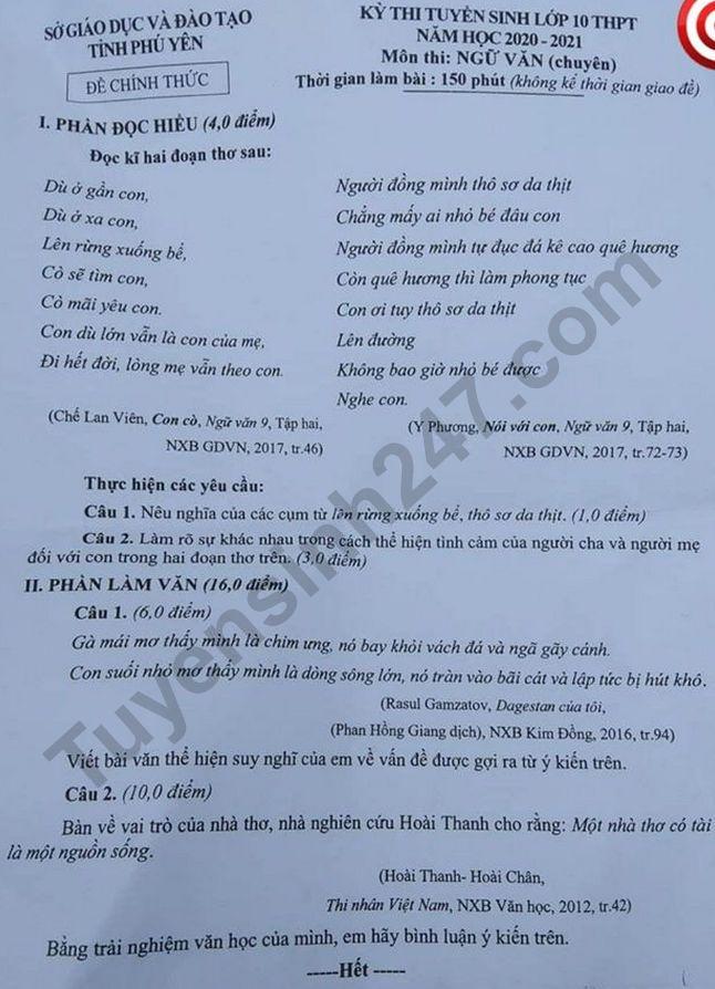De thi vao lop 10 mon Van chuyen - Phu Yen nam 2020