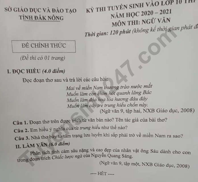 Dap an de thi vao lop 10 mon Van tinh Dak Nong 2020