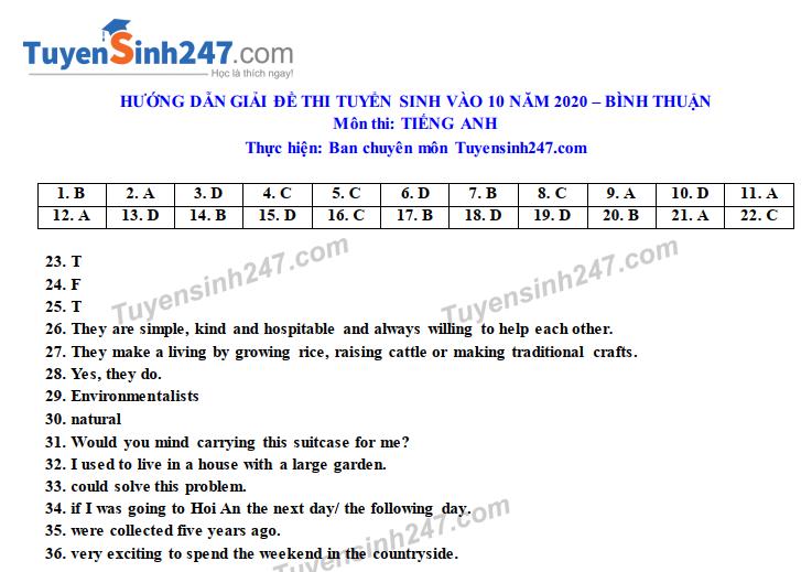 Dap an de thi vao lop 10 nam 2020 tinh Binh Thuan mon Anh