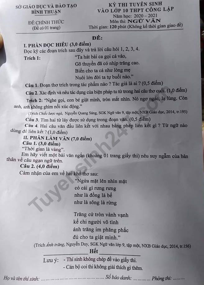 Dap an de thi vao lop 10 mon Van nam 2020 tinh Binh Thuan