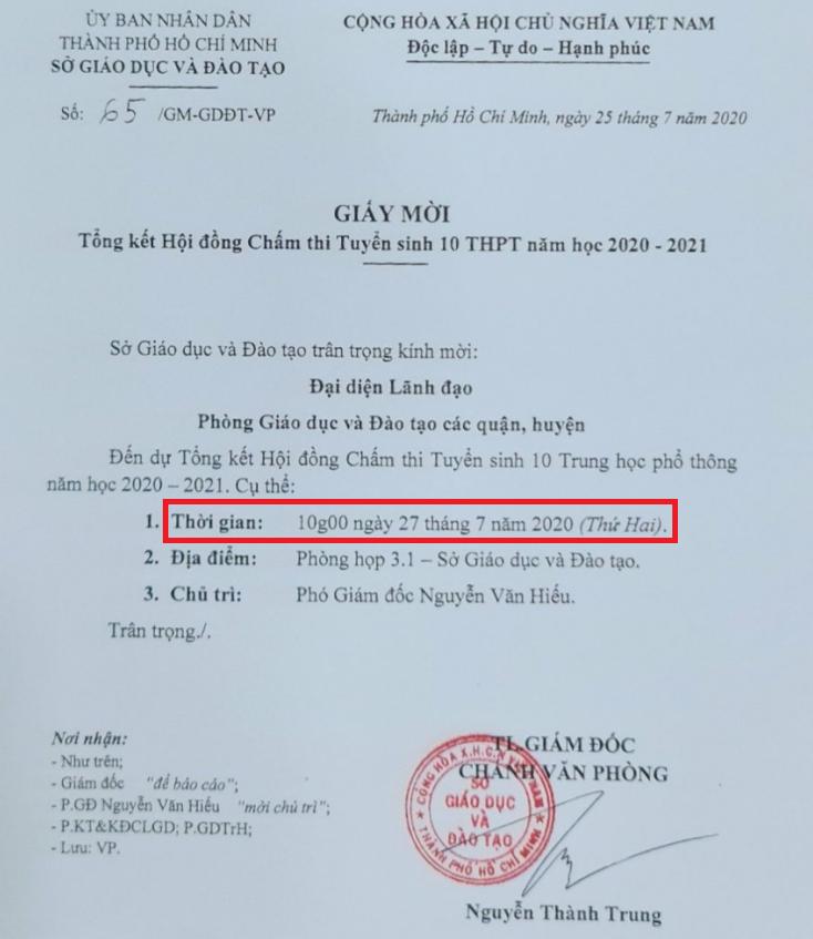 May gio cong bo diem thi vao lop 10 TPHCM 2020?