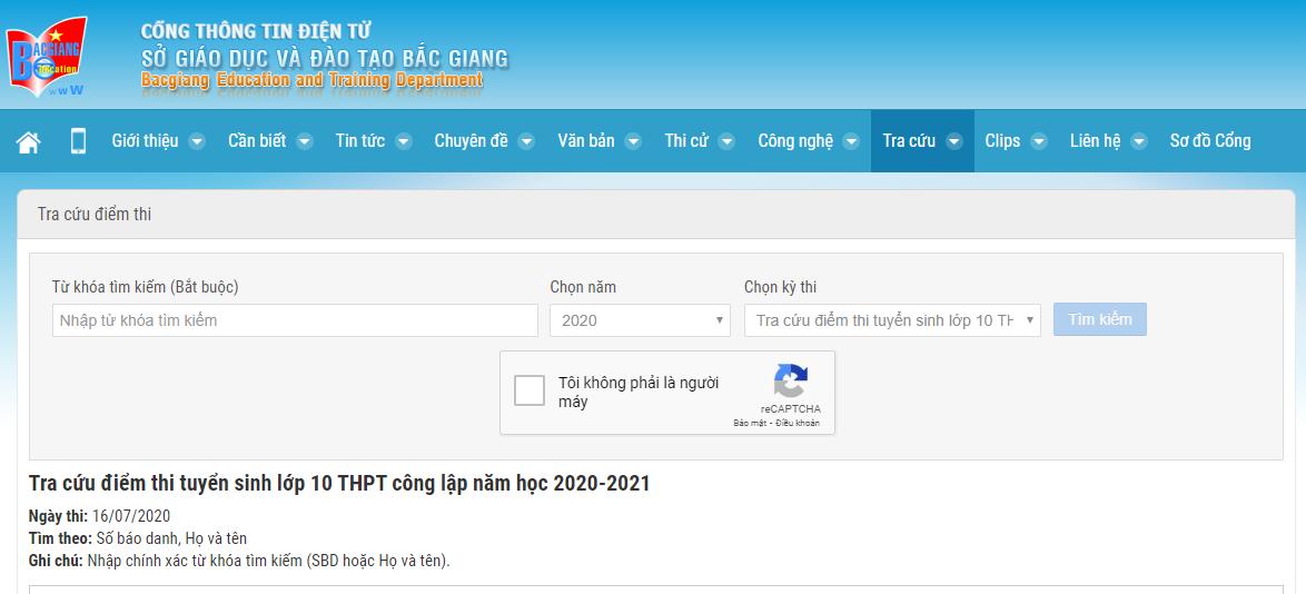 Da co diem thi vao lop 10 tinh Bac Giang nam 2020