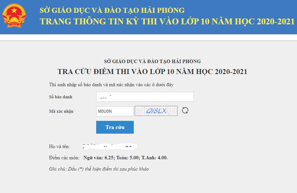 Hai Phong cong bo diem thi vao lop 10 nam 2020
