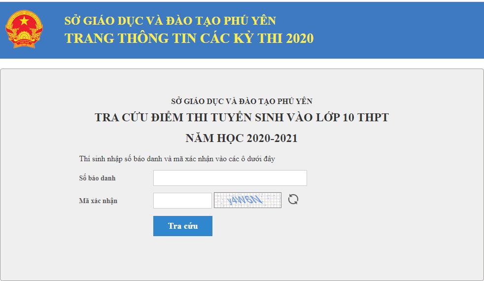 Tra cuu diem thi vao lop 10 tinh Phu Yen nam 2020