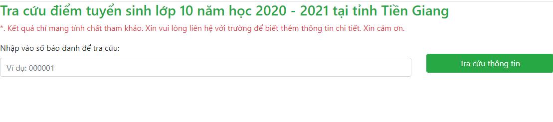 Diem thi vao lop 10 nam 2020 tinh Tien Giang