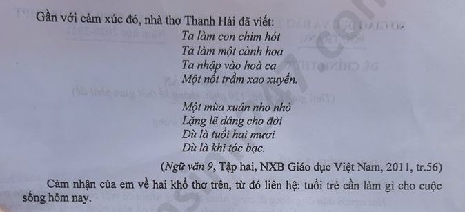 Dap an de thi vao lop 10 nam 2020 mon Van tinh Soc Trang