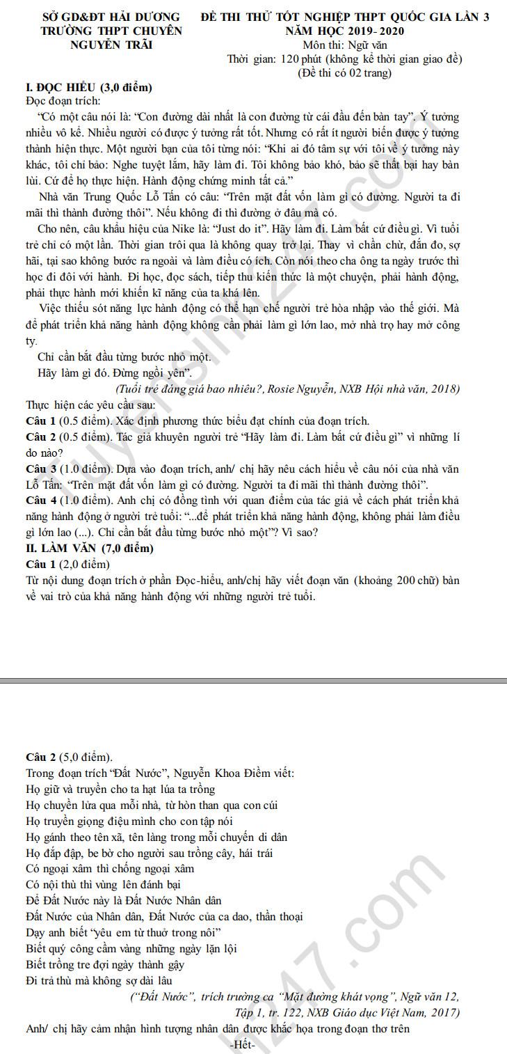 De thi thu tot nghiep THPT mon Van 2020 THPT chuyen Nguyen Trai lan 3