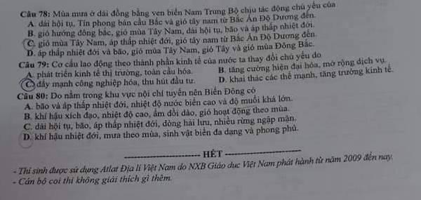 Dap an de thi mon Dia ma de 319 thi Tot nghiep THPT nam 2020