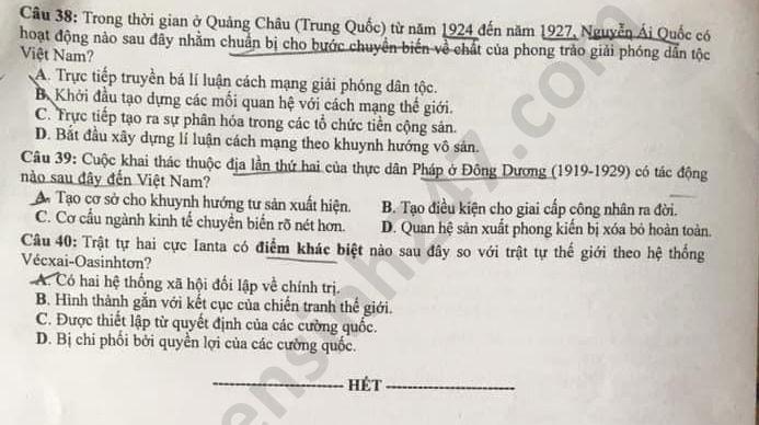 Dap an de thi mon Su Tot nghiep THPT nam 2020 ma de 305