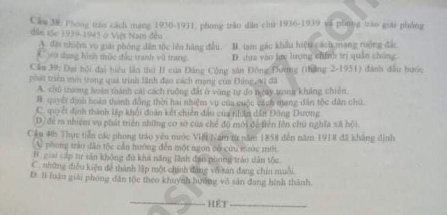 Dap an ma de 307 thi Tot nghiep THPT mon Su nam 2020