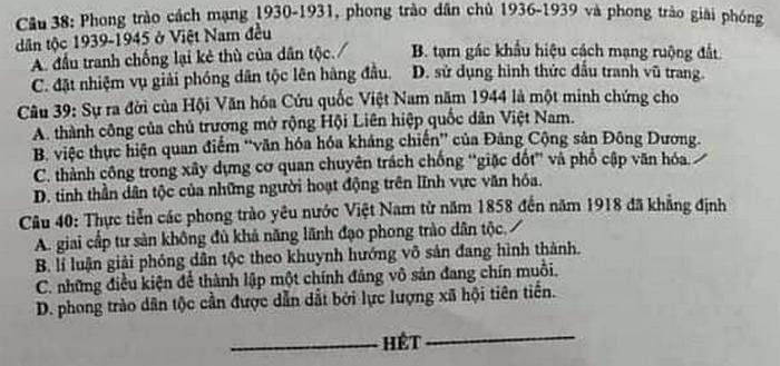 Dap an de thi Tot nghiep THPT mon Su ma de 318 nam 2020