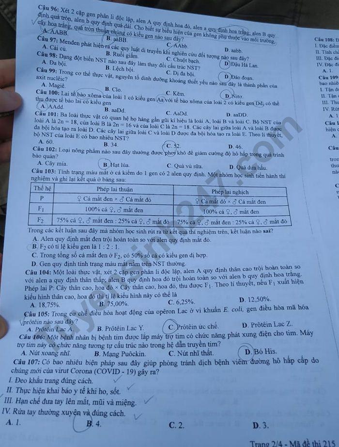 Dap an de thi mon Sinh ma de 215 thi tot nghiep THPT nam 2020
