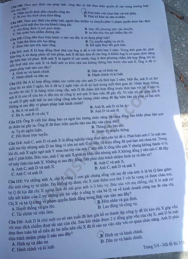 Dap an de thi mon GDCD ma 316 thi Tot nghiep THPT nam 2020