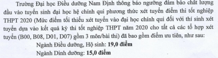 DH Dieu Duong Nam Dinh cong bo diem san nam 2020