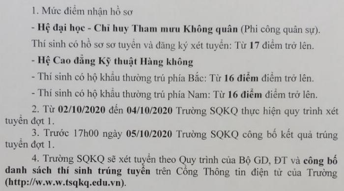 Diem san truong Si Quan Khong Quan nam 2020