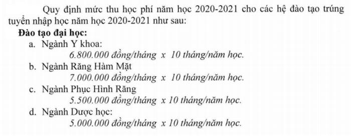 Truong DH Y Duoc TPHCM cong bo hoc phi nam hoc 2020-2021
