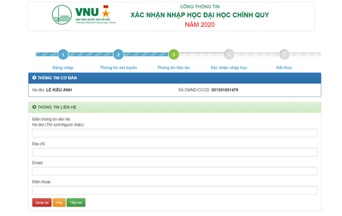 Thi sinh DH Quoc gia Ha Noi tien hanh nhap hoc truc tuyen 2020