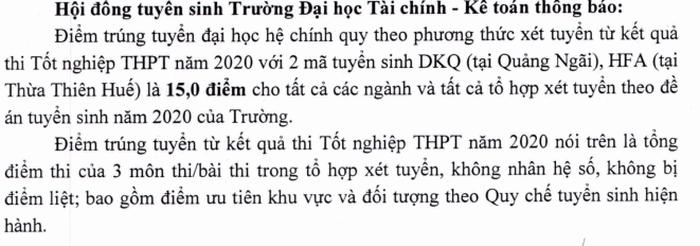 DH Tai Chinh Ke Toan cong bo diem chuan nam 2020