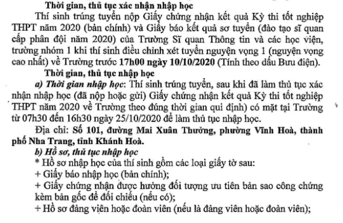Ho so nhap hoc truong Si quan Thong tin 2020