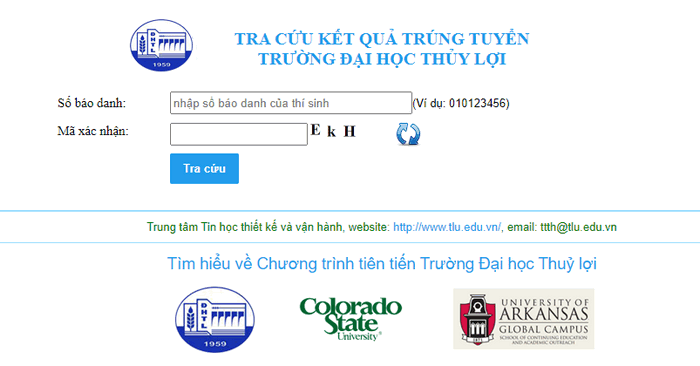 Tra cuu ket qua trung tuyen Dai hoc Thuy Loi nam 2020