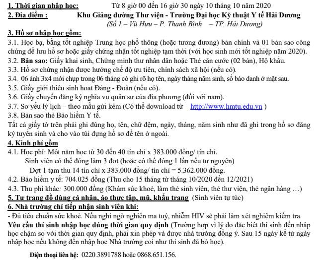 Ho so nhap hoc nam 2020 DH Ky Thuat Y Te Hai Duong