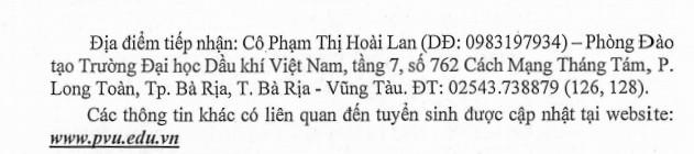 DH Dau Khi Viet Nam xet tuyen bo sung nam 2020